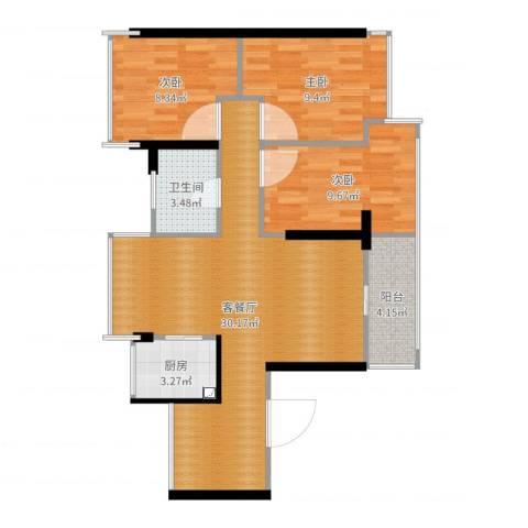畔山名居・特区青年3室2厅1卫1厨86.00㎡户型图
