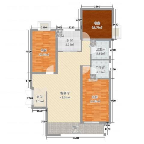 富贵城3室2厅2卫1厨120.00㎡户型图