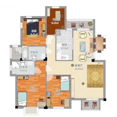 万达广场公寓4室2厅2卫1厨124.00㎡户型图