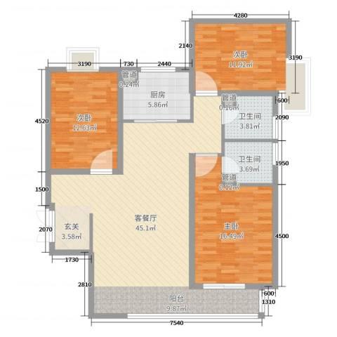 富贵城3室2厅2卫1厨125.00㎡户型图