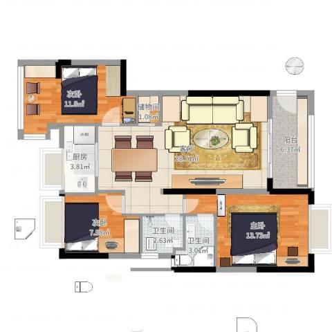 金丰花园3室1厅2卫1厨98.00㎡户型图
