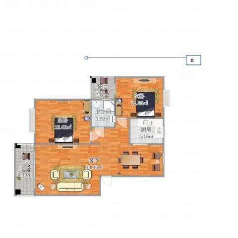 天门湖新界2室1厅1卫1厨94.00㎡户型图