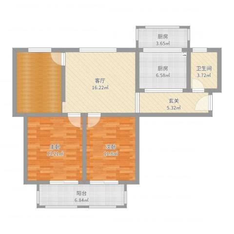 德民旺角2室1厅1卫2厨97.00㎡户型图