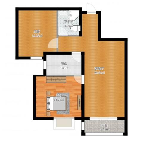 世纪学庭2室2厅1卫1厨88.00㎡户型图