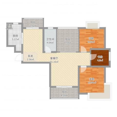 景隆现代城3室2厅1卫1厨103.00㎡户型图
