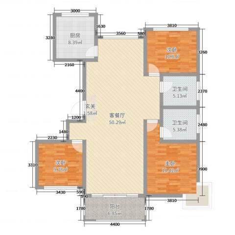 新城国际二期3室2厅2卫1厨139.00㎡户型图