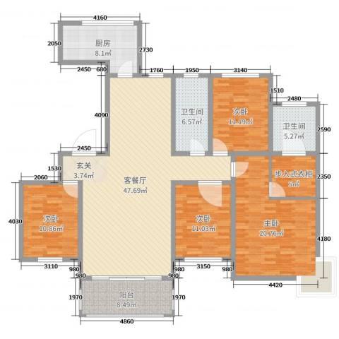 新城国际二期4室2厅2卫1厨169.00㎡户型图
