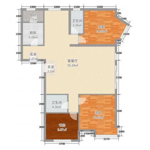桃源山庄3室2厅2卫1厨110.99㎡户型图