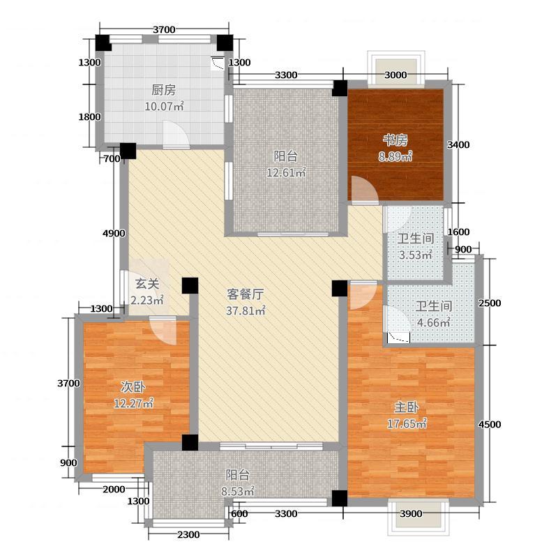 万辉星城蓝山郡133.25㎡Y2多层洋房标准层户型3室3厅2卫1厨
