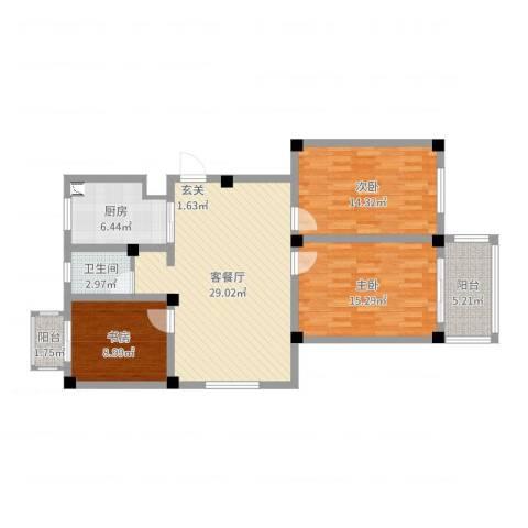 伯乐达城市御墅3室2厅1卫1厨105.00㎡户型图