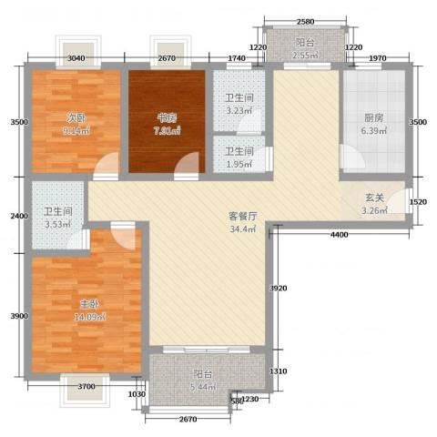 榕城奥运星城3室2厅3卫1厨88.63㎡户型图