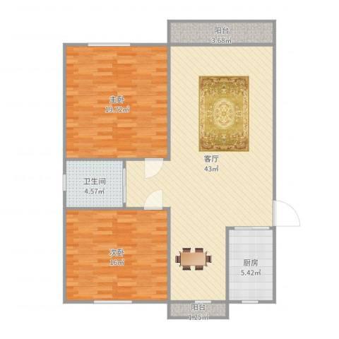 西镇小区2室1厅1卫1厨117.00㎡户型图