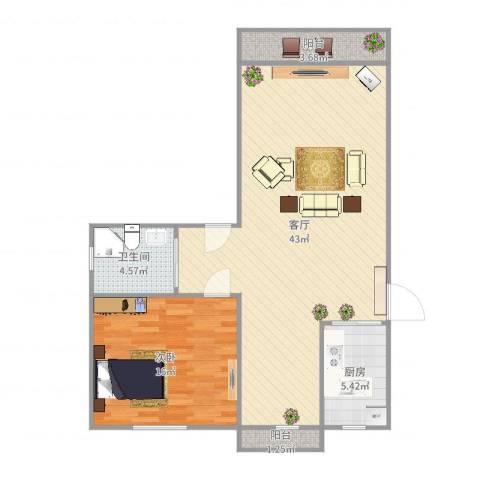 西镇小区1室1厅1卫1厨92.00㎡户型图