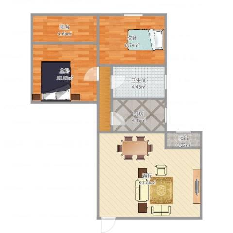 和辉花园2室1厅1卫2厨72.00㎡户型图