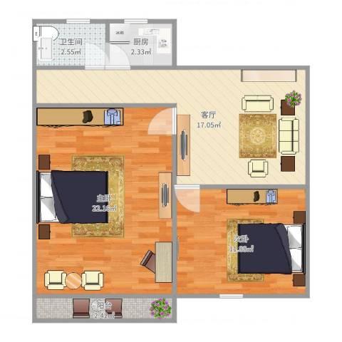香山新村西南街坊2室1厅1卫1厨73.00㎡户型图