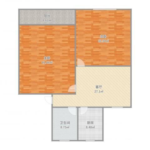 香山新村西南街坊2室1厅1卫1厨160.00㎡户型图