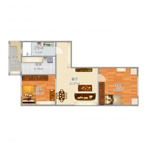 长达公寓2室1厅1卫1厨79.00㎡户型图