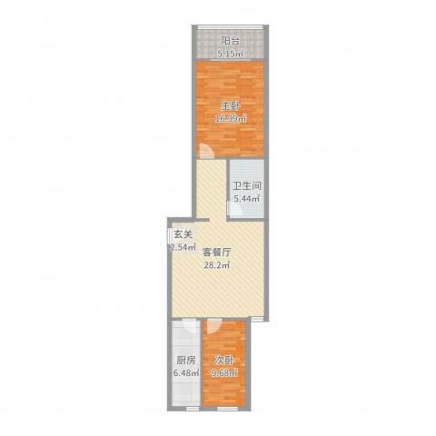 樱桃二条8号院2室2厅1卫1厨90.00㎡户型图