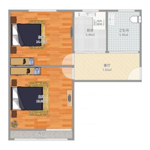 谢家宅小区2室1厅1卫1厨65.00㎡户型图