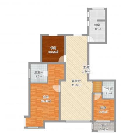 世家官邸3室2厅2卫1厨133.00㎡户型图