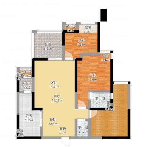 常州红星国际广场2室1厅2卫1厨108.00㎡户型图