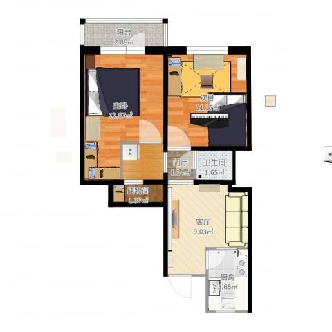 新源西里中街2室1厅1卫1厨57.00㎡户型图