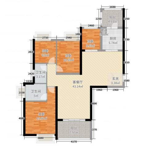 珠江观澜御景4室2厅2卫1厨137.00㎡户型图
