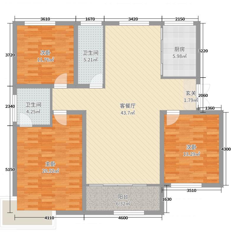 荣盛・锦绣兰庭138.80㎡A户型3室3厅2卫1厨