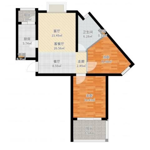 恒阳花苑海上花2室2厅1卫1厨92.00㎡户型图