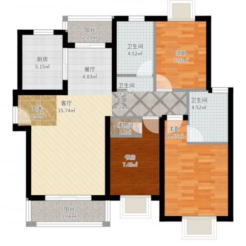 梵顿公馆3室2厅2卫1厨112.00㎡户型图