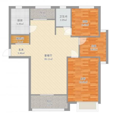 心圆东苑3室2厅1卫1厨107.00㎡户型图