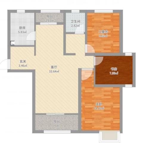 心圆东苑3室1厅1卫1厨101.00㎡户型图
