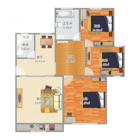 心圆东苑3室2厅1卫1厨115.00㎡户型图