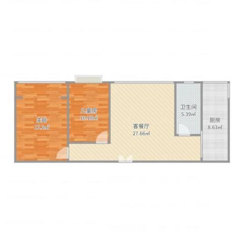 心中家园2室2厅1卫1厨86.00㎡户型图