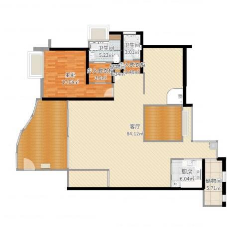 嘉和名苑7幢8011室1厅2卫1厨196.00㎡户型图