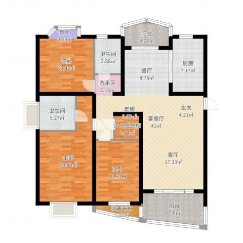 欣晟家园3室2厅2卫1厨145.00㎡户型图