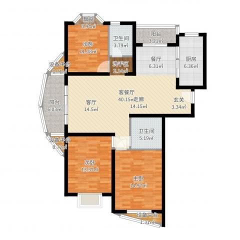 欣晟家园3室2厅2卫1厨134.00㎡户型图
