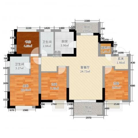景瑞望府4室2厅2卫1厨88.00㎡户型图