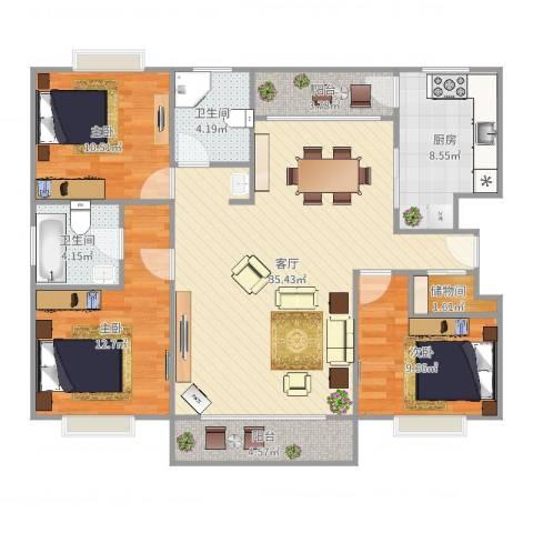 欣晟家园3室1厅2卫1厨119.00㎡户型图