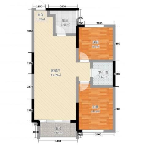 嘉惠第五园2室2厅1卫1厨91.00㎡户型图