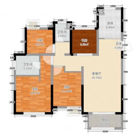 景瑞望府4室2厅2卫1厨120.00㎡户型图