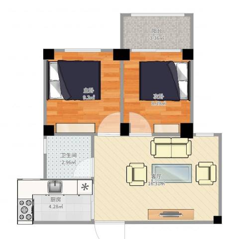 特房美地雅登2室1厅1卫1厨56.00㎡户型图