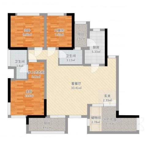 晟凡・兴龙湖一号3室2厅2卫1厨116.00㎡户型图