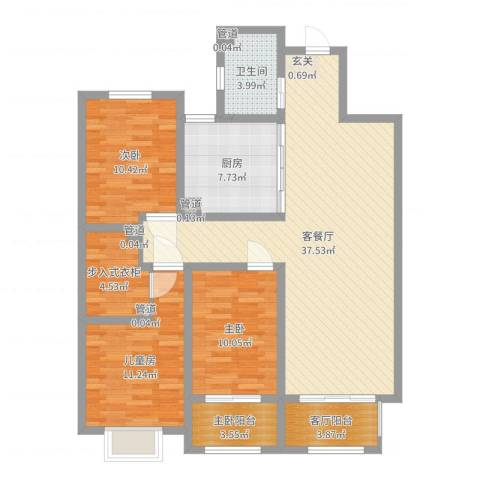 中达・名门世家3室2厅1卫1厨116.00㎡户型图