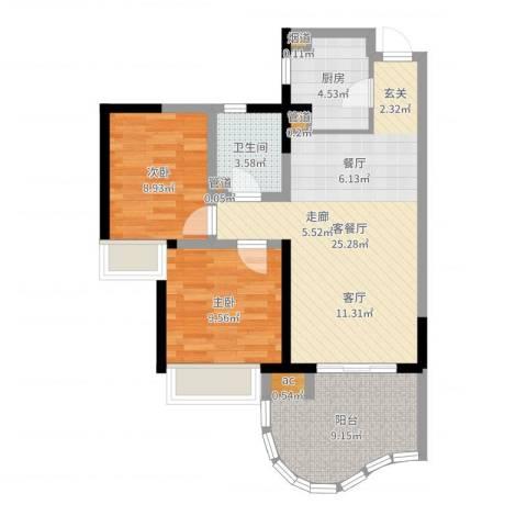 三亚・一山湖2室2厅1卫1厨77.00㎡户型图