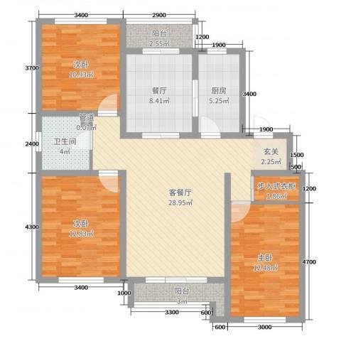 博圣・御府龙湾3室3厅1卫1厨112.00㎡户型图