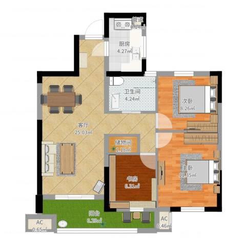 万泰时代城3室1厅1卫1厨85.00㎡户型图