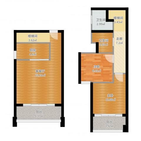 富兴御园2室2厅2卫1厨86.00㎡户型图