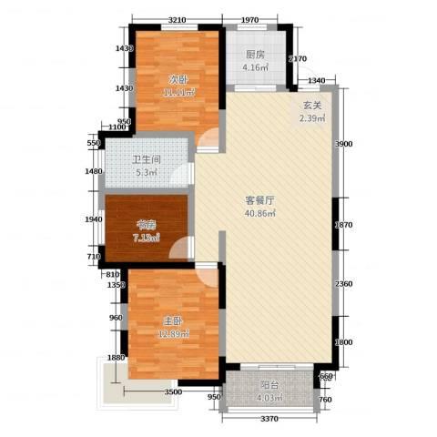 嘉惠第五园3室2厅1卫1厨117.00㎡户型图