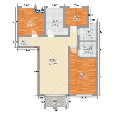 泉山逸品3室2厅2卫1厨123.00㎡户型图